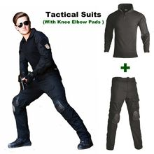 Black Camouflage Men Clothes Tactical Ghillie Suit Military Uniform Shirt + Pants Knee Pads Clothing Army Combat Hunting Clothes