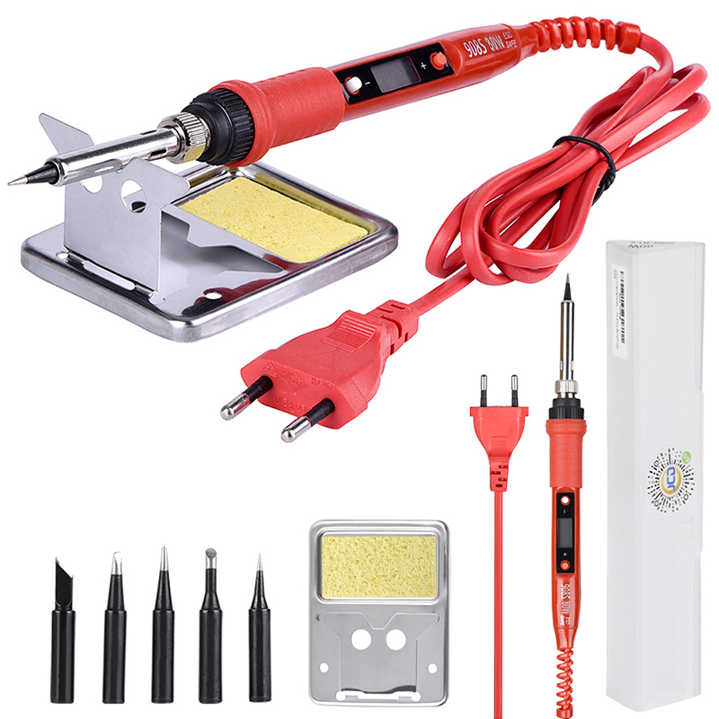 JCD Electric LCD Soldering Iron 220V 110V 80W Adjustable Temperature Solder Welding Rework Repair Tools Soldering Iron Kit&tips