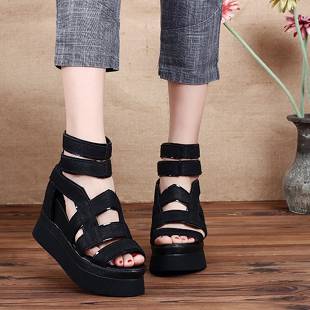 Women Natural Leather Zipper Sandals Gladiator Solid Shoes For Women Wedges Black High Heel Quality Zapatos Mujer Platform 2018 summer shoes woman platform sandals women soft leather casual peep toe gladiator wedges women 7cm high heel shoes zapatos mujer