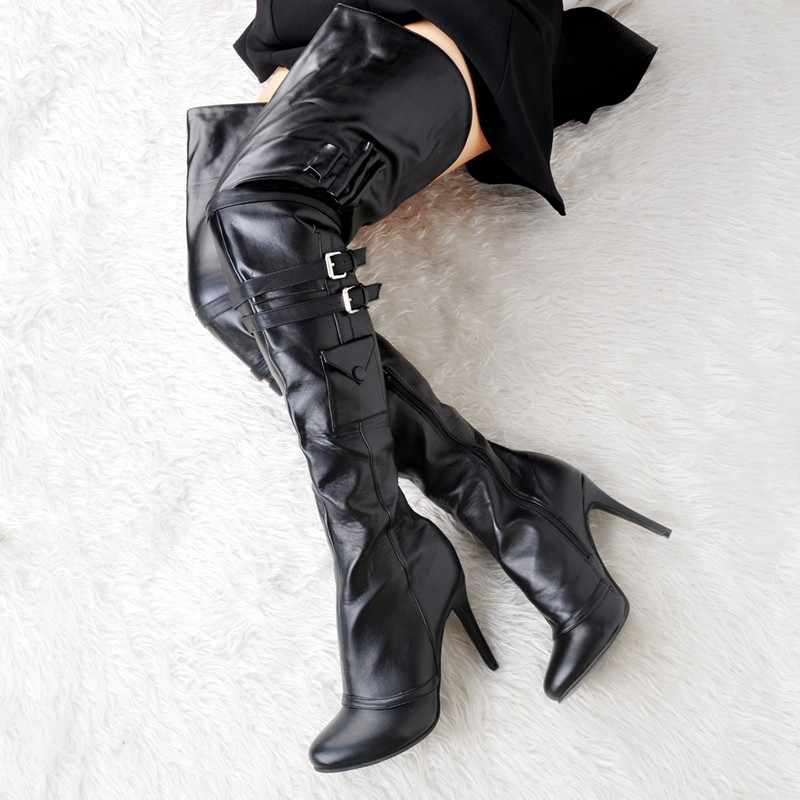 As Zapatos Oversize Las 2018 Mujeres Hebillas Lujo Pic Bombas Negro De Boda Talón Delgados Pu Tacones Lock Caliente Overknee Alto Invierno Maduro qzwqOR