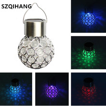 3pcs Multicolor Solar Light Waterproof Rotatable Outdoor Garden Camping Hanging LED Round Ball Lamp Walkway Decorate