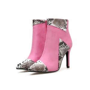 Image 5 - Boussac مثير الأفعى طباعة عالية الكعب النساء الأحذية بووتي حذاء من الجلد للنساء رقيقة كعب النساء الأحذية SWE0588