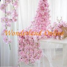 200CM Artificial Hydrangea Sukura Wisteria Flower Vine For DIY Wedding Arch Square Rattan Stringl Hanging Basket YXV01