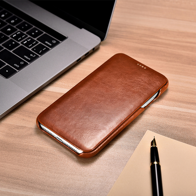 pretty nice dc0b0 4f0d3 US $23.09 23% OFF|icarer for iPhone XS Max Case Genuine Leather Wallet Case  for Apple iPhone XS Max Curve Flip Folio Magnet Cover Protective Shell-in  ...