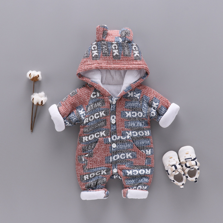 Baby Boy Girl Thick Warm Infant Rompers Winter Clothes Newborn Romper Jumpsuit Hooded Kid Outerwear for 0-24M Letter Rock Print 2016 newborn baby rompers hooded winter baby clothing bebethick cotton baby girl clothes baby boys outerwear jumpsuit infant