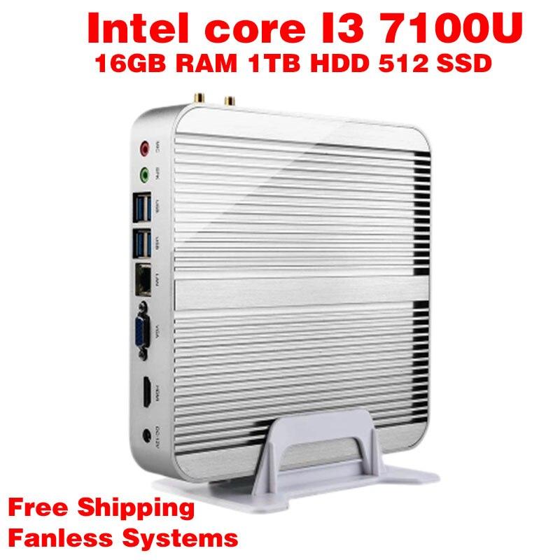 Mini PC Intel 7e Gen Kaby Lac Windows 10 i3 7100U 16GB RAM 512GB SSD 1TB