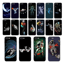Astronaut Space Moon Planet Star space Soft TPU Case for Coque iPhone 8 Cover 6S 6 7 Plus 5S XS Max XR X 5 SE Funny phone shell