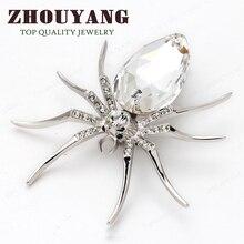 De Calidad superior ZYX028 Blanco Araña de Oro Blanco Plateado Broches de La Joyería Cristalina Al Por Mayor de Fshion