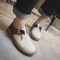 New 2017 patchwork mary janes shoes woman fashion spring buckle lolita shoes vintage top quality espadrilles women