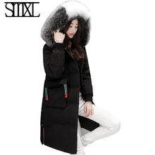 smxl down jacket Snow winter white duck down solid long ultra keep Warm Outerwear female coat Fur Collar Parkas women balck