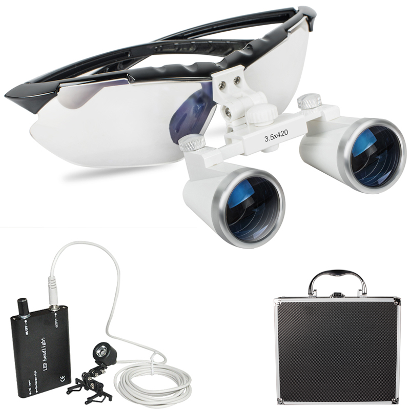 все цены на 2018 Black New Dentist Dental Surgical Medical Binocular Loupes 3.5X 420mm Optical Glass Loupe Portable Light Clip+Aluminum Box онлайн