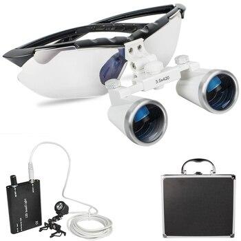 2018 negro nuevo dentista quirúrgico médico Binocular lupas 3,5X420mm cristal óptico lupa portatil Clip de luz + caja de aluminio