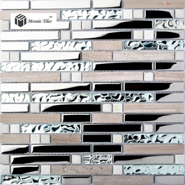 kitchen backsplash tile gray marble silver glass mosaic