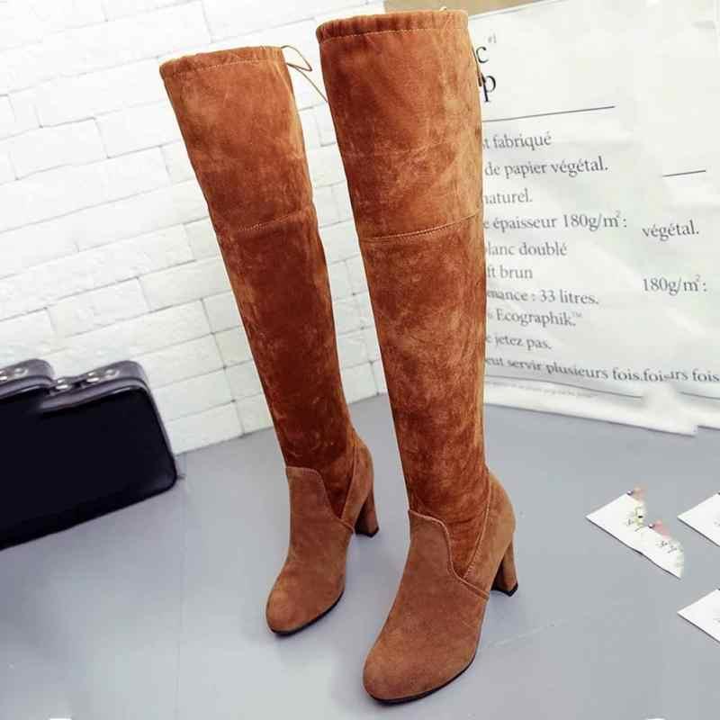 Moda over-the-diz çizmeler kadın yüksek topuk çizmeler kadın kış ayakkabı kadın ince diz yüksek çizmeler kadın kışlık botlar artı boyutu 43