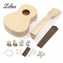 """21"""" DIY Unfinished Bass Guitar Uke Ukulele With Ukulele Body Fret Neck Strings Tunning For Musical Stringed Instruments Lover"""
