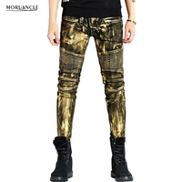 Hi-Street Men Biker Jeans Pants Gold Silver Coated Brand Designer Motorcycle Denim Trousers High Quality Slim Fit Pleated Jogger