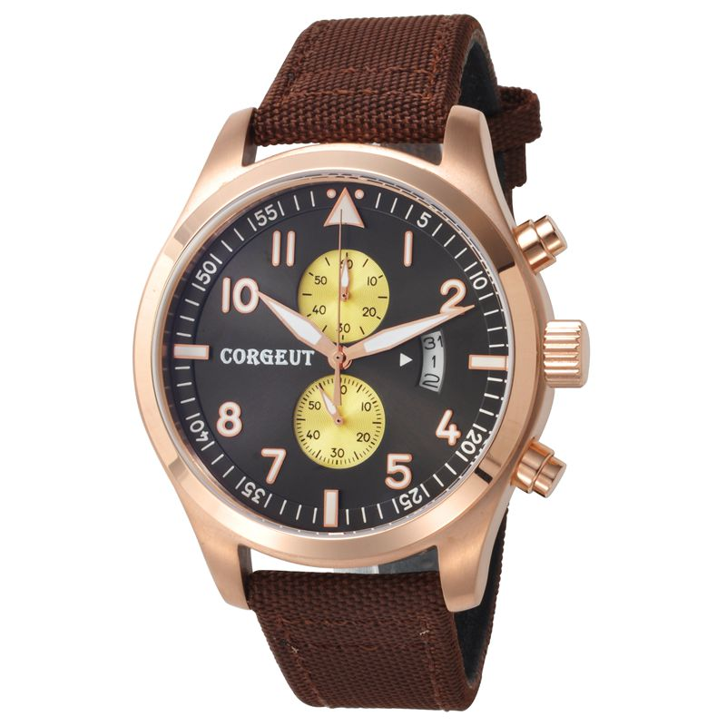 все цены на Corgeut 46mm black plus yellow dial Gold Case Full Chronograph automatic date quartz wristwatch Men water resistant wristwatches