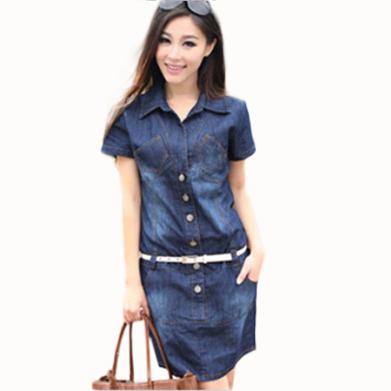 Women's Dress Summer Style Plus Size 5XL Dresses Denim Vestidos Short Sleeve Loose-fitting Dress Casual Clothes 2018 Hot C26