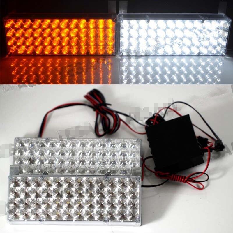 CYAN SOIL BAY 2pcs 48 LED Warn Strobe Emergency Light Grille Dash Lamp 3 Flash Modes White Amber Red Blue