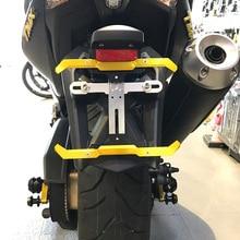 Universal Motocicleta CNC Da Liga de Alumínio Quadro de Licença Número Ajustável Suporte Da Placa de Registro Do Motor frete grátis