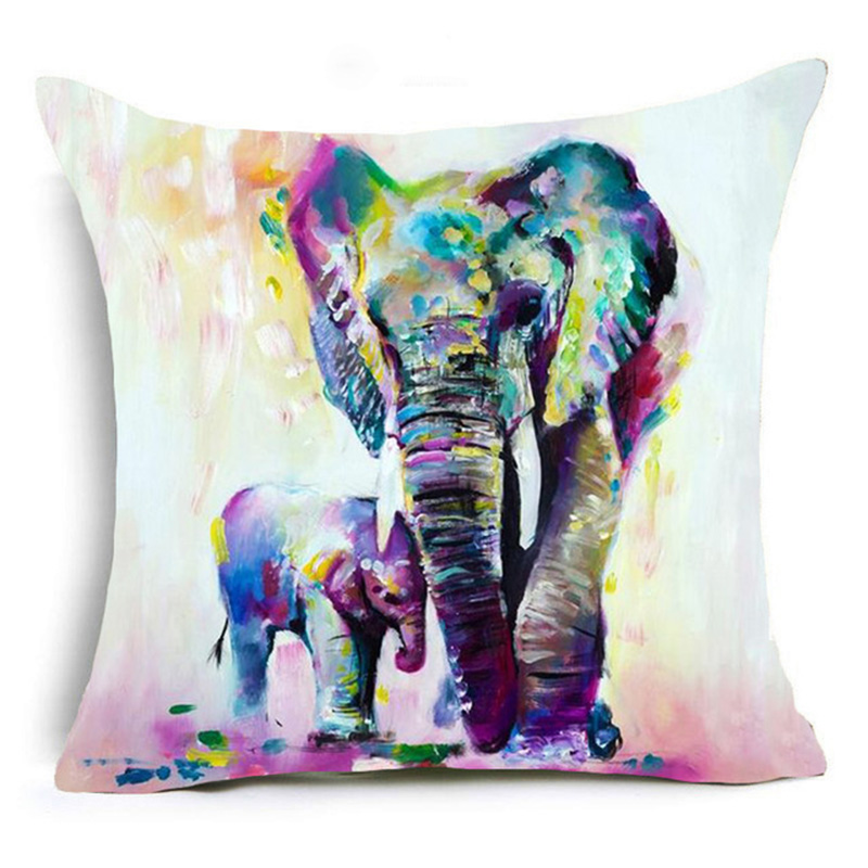 2019 Bohemia Elephant Polyester Cushion Cover Indian Style Affection Animal Home Decorative Pillow Cover for Sofa Pillowcase in Cushion Cover from Home Garden