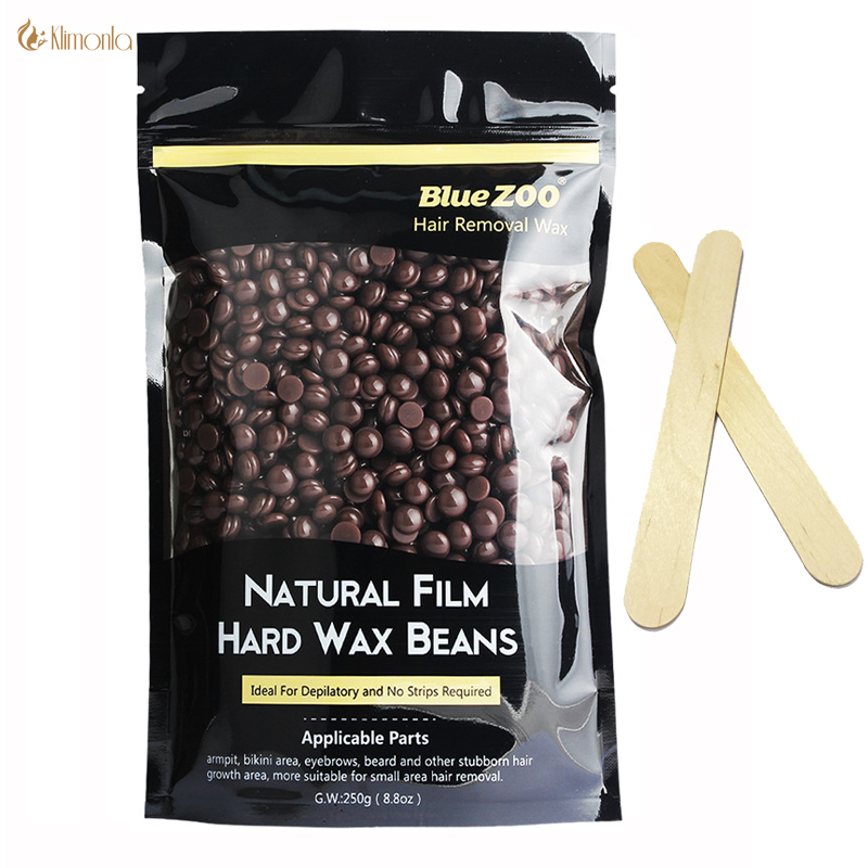 250g Hot Film Hard Wax Pellet Waxing Bikini Hair Removal Bean Product Depilatory Wax No Strip Depilatory Wax Beans Chocolate