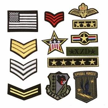 Parche de Chevron bordado soldado del ejército militar Insignia de rango aplique rayas estrellas Insignia parches para chaqueta de Jean