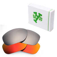2 Pairs Mryok POLARIZED Replacement Lenses for Oakley Pit Bull Sunglasses Silver Titanium & Fire Red