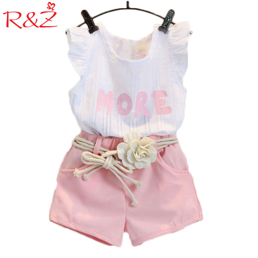 Baby Children Clothes Sets 2017 Girls Fly Sleeve Flower Cotton Shirt + Shorts Summer Set Sport Belt Print Letter Clothes
