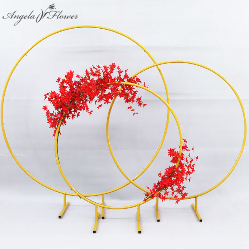 Image 4 - Wedding arch wrought iron round ring arch artificial flower decor birthday party celebration wedding props flower stand shelf-in Artificial & Dried Flowers from Home & Garden
