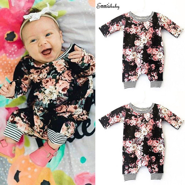 0880109210df3 Toddler Newborn Infant Cute Baby Clothes Girl Floral Rompers Long Sleeve  Playsuit bebek giyim Jumpsuit Outfit Clothing 0-24M