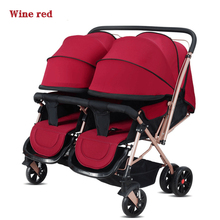 HUAYING Twins Baby Carriages Can Be Arranged In Two Way Can Lie Down Folding Pads, Safe And Healthy Twins Baby Trolley