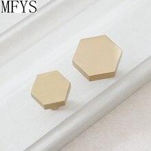 1 1.25 Brass Knobs Cabinet Knob Handle Dresser Handles Hexagon Drawer Pulls Antique Single Kitchen Hardware