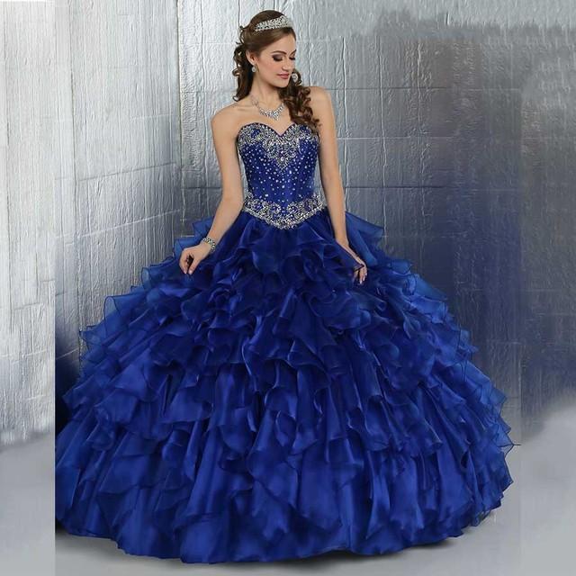 Sweet 16 vestidos baratos masquerade vestidos de baile frisada corpete ruffles sparkly cristais puffy azul royal vestidos quinceanera 2017