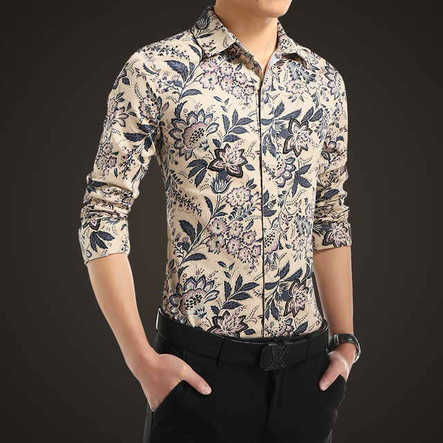 c4accf4170c 2016 spring England Style retro exquisite flower printed shirts men casual  slim fit Floral printed shirts