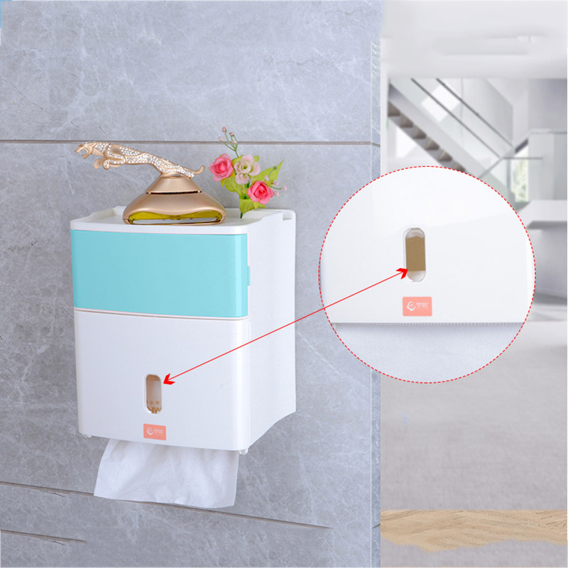 High Quality Double Layer Bathroom Storage Box Toilet Paper Sanitary Napkin Storage Wall Mounted Shelves VE