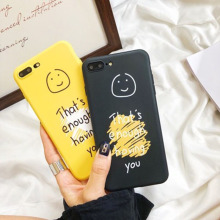 Get more info on the EMIUP Phone Case For iphone 7 x xr xs max 6 8 6s plus case Fashion Back Cover Protective coque Scrub Anti-knock Smiley face cute