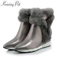 Krazing olla 2018 moda cremallera cuero genuino de la cuña del dedo del pie puntiagudo botas de invierno mantener caliente tacones altos dulce botas de tobillo de mujer L65