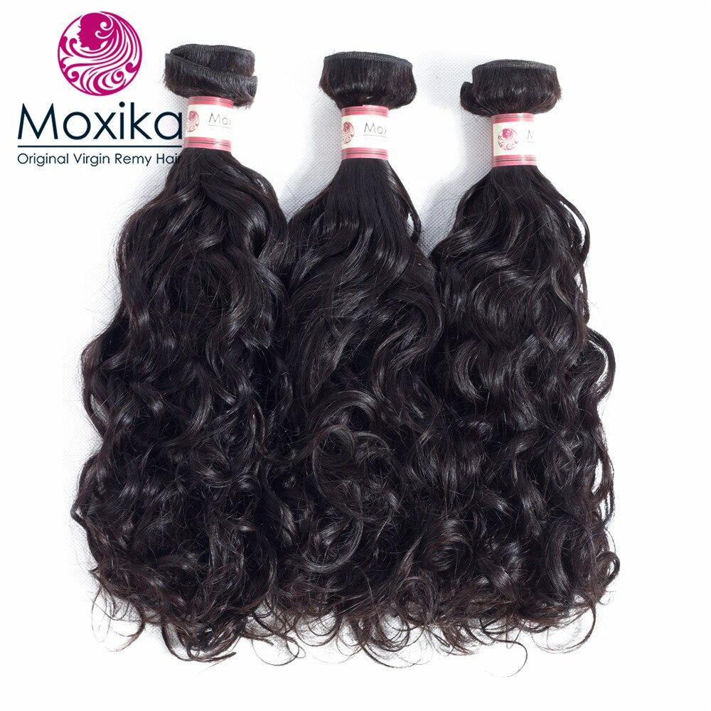 Moxika Hair Brazilian Hair weave Bundles water wave 3pcs 100% Human Hair Weaves 8-28inch 100g/pcs Remy Black 8-28inch