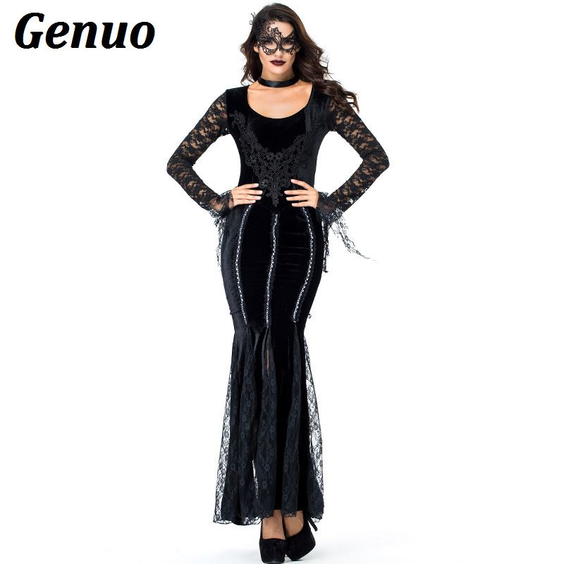 Genuo Queen Of The Vampires Costume Halloween Costumes for Women sexy black dress cosplay gothic lolita fantasy