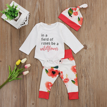Infant Newborn Toddler Baby Girls Letters Printing Tops Bodysuits Floral Pants Hat 3pcs Casual Lovely Clothes Outfits 2019