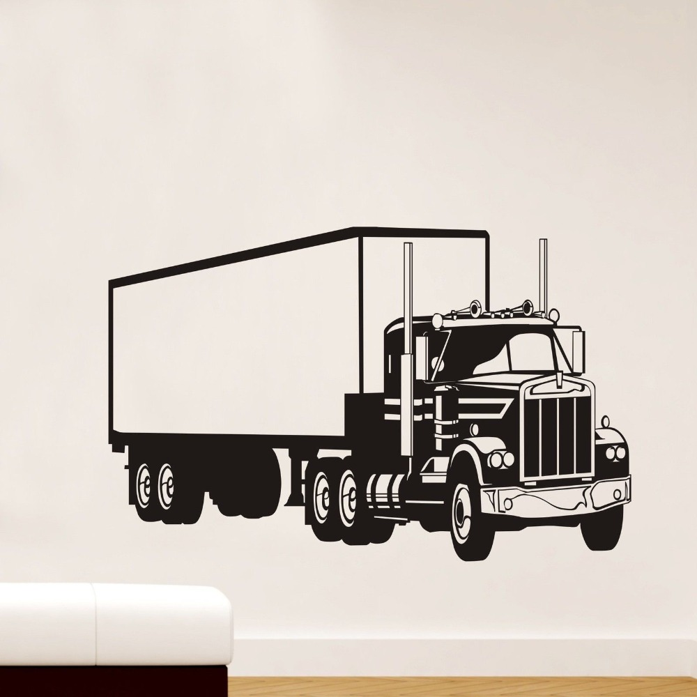 Boys room Huge Truck Wall Decor Vinyl Decals Sticker Removable Nursery Kids Art Mural Chidren Cars Wall Paper KW-252