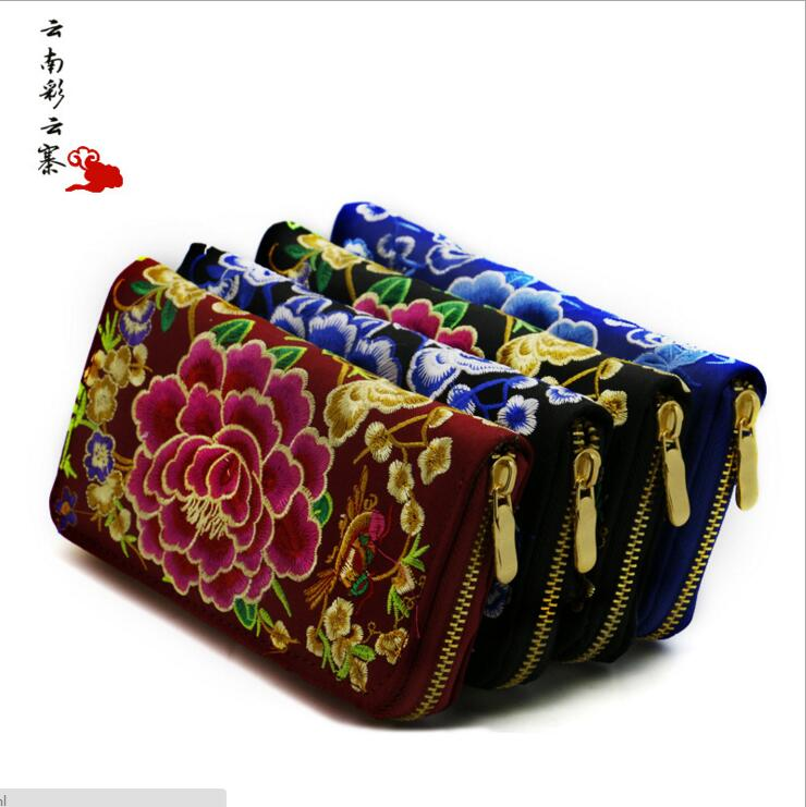 купить 5pcs/lot! Vintage Embroidery Wallet Women Wallet National Double Faced Embroidered Long Canvas Zipper Coin Bag Small Purse Card недорого