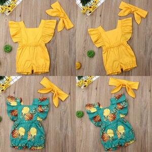 夏の新生児の女の子綿ロンパーススリーブスーツ服サンスーツ女の服