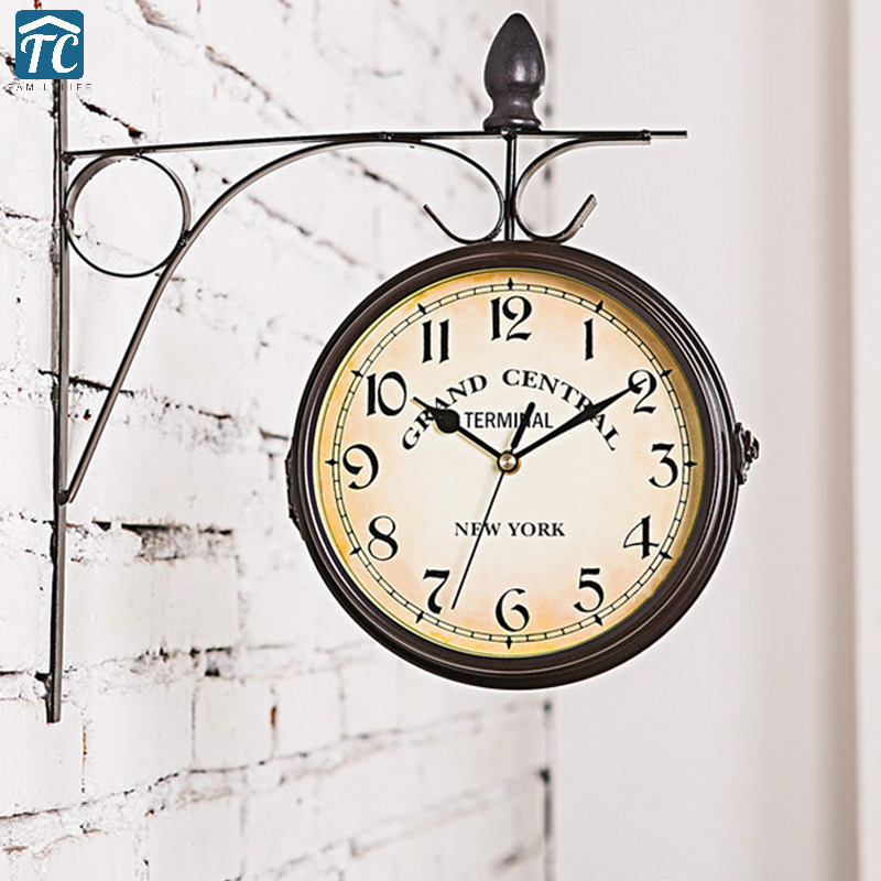 Antique Wall Clock Decorative Metal Frame Hanging European-style Living Room Double Sided Clocks Garden Retro Vintage Watch