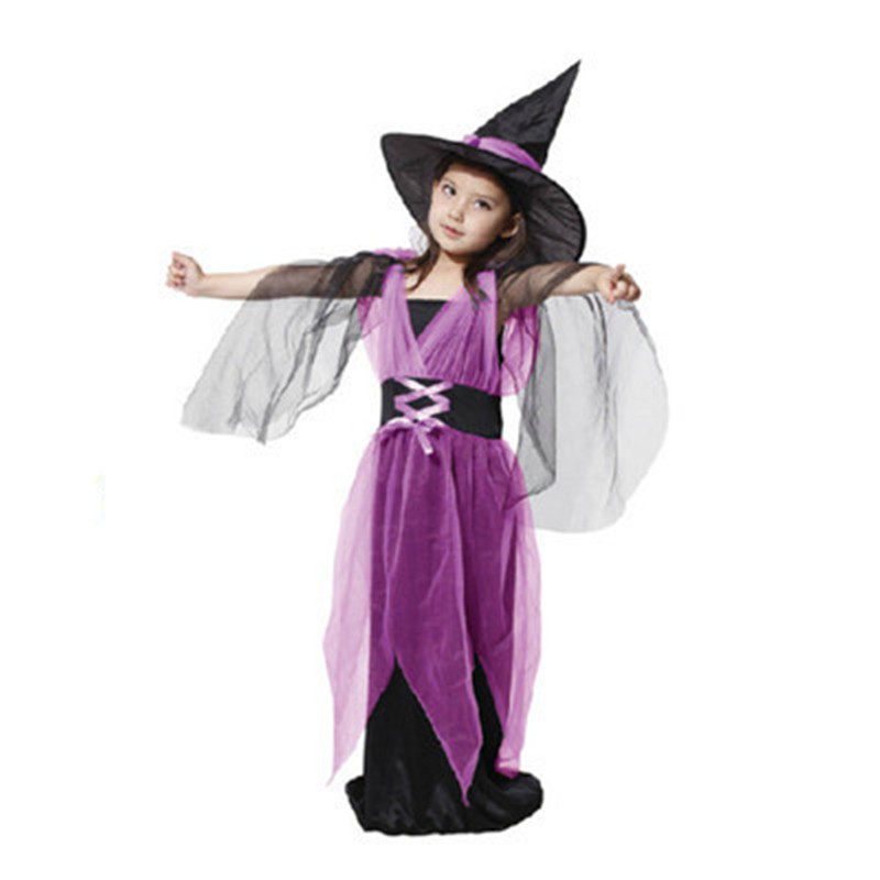 Lovely Hat+Dress Witch Makeup Ball Girls Party cosplay Dance Costume Perform Children Christmas Halloween Mass Gift Kids set