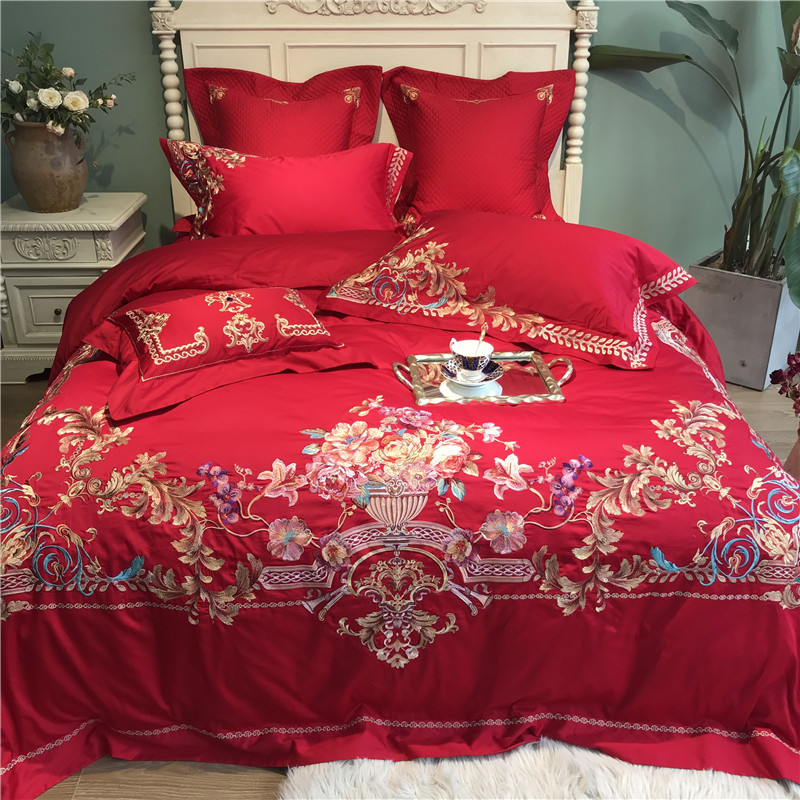 Luxury 100S Egyptian Cotton Royal Flowers Embroidery Palace Bedding Set Red Wedding Duvet Cover Bed Sheet Bed Linen Pillowcases
