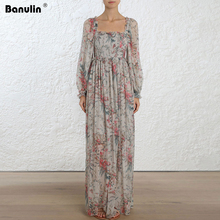Banulin Runway Spring Summer Long Sleeve Maxi Dress Womens Romantic Beach Vacation Bohemian Flower Print Dresses