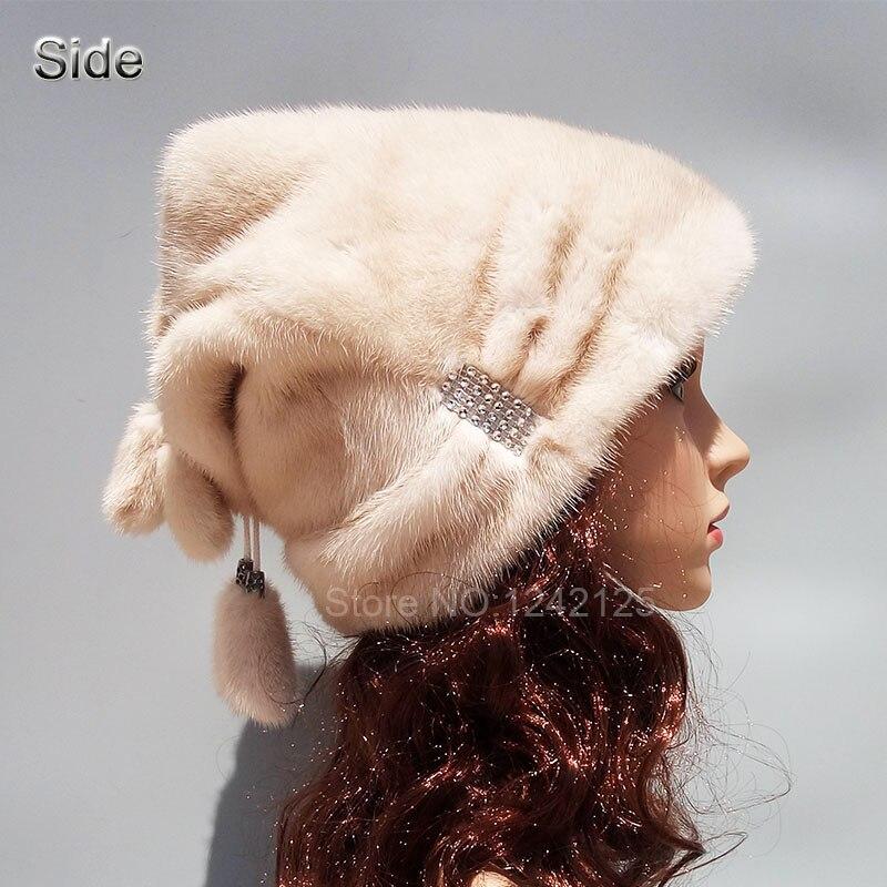 New winter women lady real Mink fur hat High-end Rhinestone warm fur natural mink fur hats basin cap   Skullies     Beanies