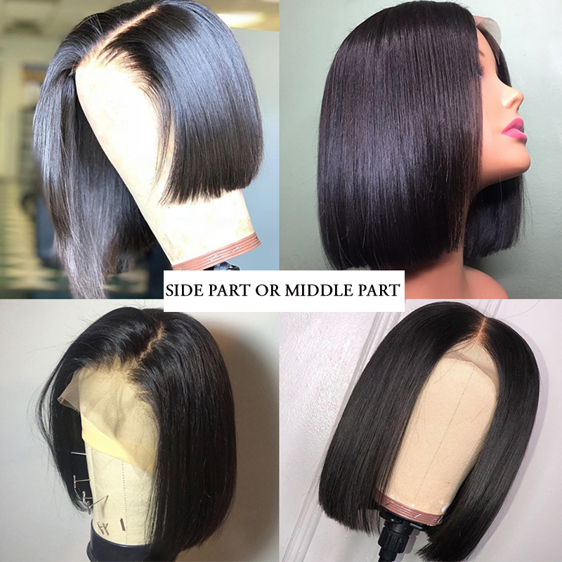 Light Brown Short Bob Lace Front Human Hair Wigs For Women Brazilian Remy Silky Straight Black 613 Blonde Lace Front Wig CARA